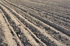 Furchenreihenmuster auf einem gepflogenen Gebiet bereitete sich f?r pflanzende Ernten im Fr?hjahr vor Horizontale Ansicht in Pers lizenzfreie stockfotos