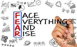 Furcht bedeutet Gesicht alles und Aufstieg Stockfotos
