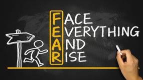 Furcht bedeutet Gesicht alles und Aufstieg Lizenzfreies Stockfoto