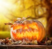 Furchtsam hallowen Kürbis auf Holz Lizenzfreie Stockbilder