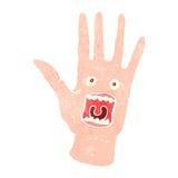 furchtsame besessene Hand der Retro- Karikatur Lizenzfreies Stockbild