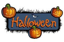 Furchtsame Betitelung Halloween mit drei Kürbisköpfen Stockbilder