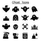 Furchtsame Geister, Halloween-Charakterikonen eingestellt Lizenzfreies Stockbild