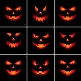 Furchtsame Gesichter Jack-O'Lantern Lizenzfreie Stockbilder