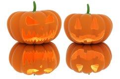 Furchtsame Halloween-Kürbislaterne mit einer Kerze nach innen stockfotografie