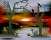 Furchtsame Halloween-Landschaft mit Sumpf, Schattenbildern von Bäumen, Vögeln und verwirrenden Lichtern Stockfoto