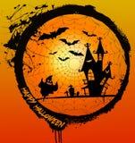 Furchtsame Halloween-Szene auf Spinnennetz Lizenzfreies Stockfoto