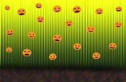 Furchtsame Kürbise, grüner steigender Vorhang Stockfotografie