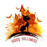 Furchtsame Katze in Halloween-Nacht Lizenzfreies Stockfoto