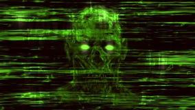 Furchtsame Neonschädelabstraktion von den horizontalen Linien und von den Geräuschen lizenzfreie abbildung