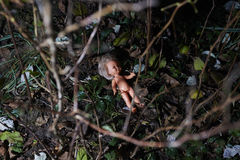Furchtsame Puppe Kindesmissbrauch Kriminelle Szene stockfotos