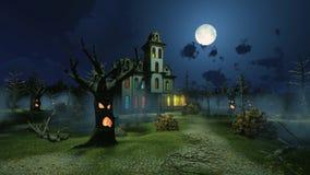 Furchtsame Villa unter gruseligen Bäumen nachts stock abbildung