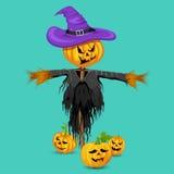 Furchtsame Vogelscheuche mit Kürbis in Halloween Stockfotografie