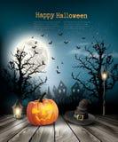 Furchtsamer Halloween-Hintergrund mit einem alten Papier Lizenzfreie Stockfotos