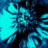 Furchtsamer Kopf der Zombiefrau mit dem ungepflegten Haar Abdeckung in der blauen Farbe stockbilder