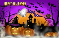 Furchtsamer Nachthintergrund Halloweens Stockbilder