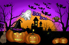 Furchtsamer Nachthintergrund Halloweens Stockbild