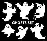 Furchtsamer Satz der Geister, flache Art Lokalisiert auf einem schwarzen Hintergrund Lizenzfreie Stockfotos