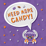 Furchtsames, aber nettes flaumiges Halloween-Monster hungrig für Bonbons mit toothy Lächeln Stockfoto