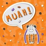 Furchtsames, aber nettes und reizendes Halloween-Monster hungrig für Bonbons mit toothy Lächeln Lizenzfreie Stockbilder