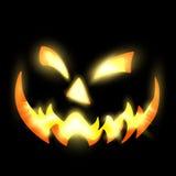 Furchtsames belichtetes Gesicht Halloweens in der Dunkelheit Stockfotografie