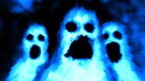 Furchtsames Geistcharaktergesicht Blaue Farbe lizenzfreie abbildung
