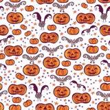 Furchtsames Kindergekritzelmuster Halloweens nahtloses helles Der Tag der Toten, Kürbisgesicht Lizenzfreie Stockbilder