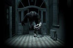 Furchtsames Monster kommen von der Dunkelheit heraus stock abbildung