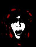 Furchtsames und blutiges gruseliges Frauen-Gesicht Stockfotografie