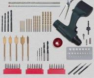 Fure acessórios da ferramenta no plano colocado ainda no branco fotos de stock royalty free