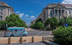 Furgone del gelato parcheggiato a Washington fotografia stock libera da diritti