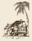 Furgone della spuma sulla spiaggia illustrazione vettoriale