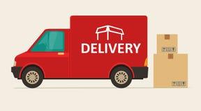 Furgone di consegna rosso con ombra e scatole di cartone con i segni fragili Immagini Stock