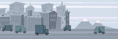 Furgone di consegna, sul fondo della città Merci del prodotto che spediscono trasporto Camion logistico e veloce di servizio Vett royalty illustrazione gratis