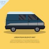 Furgone fresco del furgoncino del passeggero nello stile piano su fondo giallo Fotografia Stock