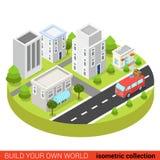 Furgone isometrico piano di hippy 3d in infographic moderno della via della città Fotografia Stock