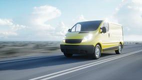Furgoneta de entrega amarilla en la carretera Conducción muy rápida Transporte y concepto logístico Animación realista 4K almacen de metraje de vídeo
