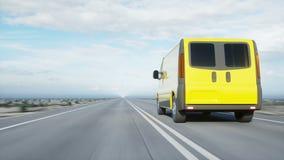 Furgoneta de entrega amarilla en la carretera Conducción muy rápida Transporte y concepto logístico Animación realista 4K metrajes