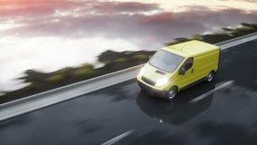 Furgoneta de entrega amarilla en la carretera Conducción muy rápida Transporte y concepto logístico Animación realista 4K almacen de video