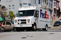 Furgoneta de entrega de Fedex foto de archivo libre de regalías