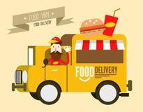 Furgoneta de la hamburguesa entrega de los alimentos de preparación rápida Imagen de archivo libre de regalías