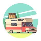 Furgoneta del vector que viaja al viaje por carretera stock de ilustración