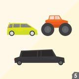 Furgoneta, monster truck y limusina de la familia Imagenes de archivo