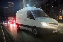 Furgoneta rápida en un camino de ciudad que entrega en la noche representación 3d foto de archivo