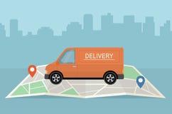 Furgoneta y mapa de entrega en fondo de la ciudad Servicios, logística y carga de transporte del concepto de las mercancías fotografía de archivo