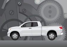 Furgonetki ciężarówka z tłem cogwheels Ilustracja Wektor