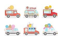 Furgoni dell'alimento messi illustrazione di stock