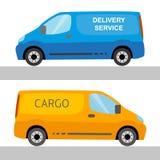 Furgoni di consegna blu ed arancio isolati illustrazione di stock
