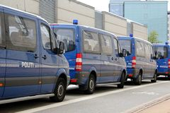 Furgoni di polizia di Copenhaghen Fotografia Stock
