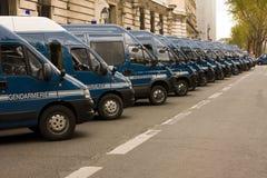 Furgoni di polizia francesi Fotografia Stock